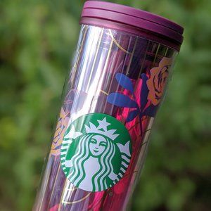 Starbucks Other - NWT Starbucks Magenta Pink Blue Rose Tumbler 16oz.